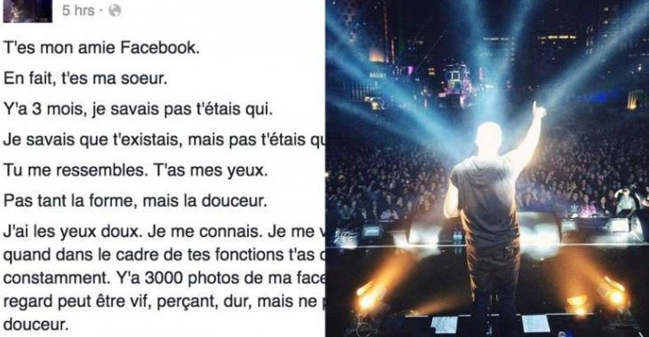 Un populaire chanteur québécois découvre qu'il a une soeur sur Facebook!