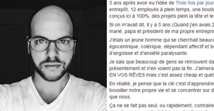 Alexandre Champagne de Trois fois par jour livre un message bouleversant. Tout le monde doit lire ça!
