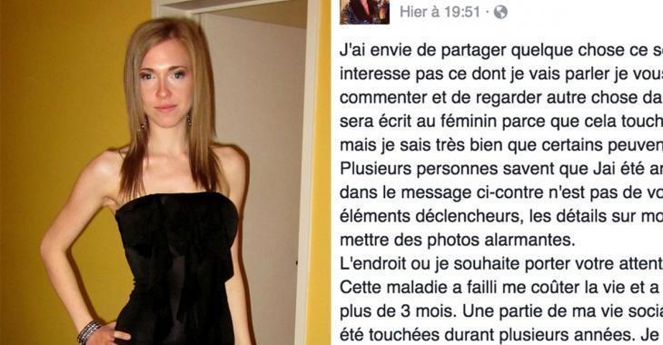 Une ex-anorexique québécoise lance un cri du coeur sur Facebook... Aujourd'hui, elle est méconnaissable!